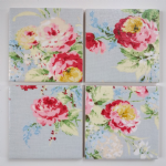 4 Ceramic Coasters in Cath Kidston Faded Flowers Roses Blue Shabby Chic